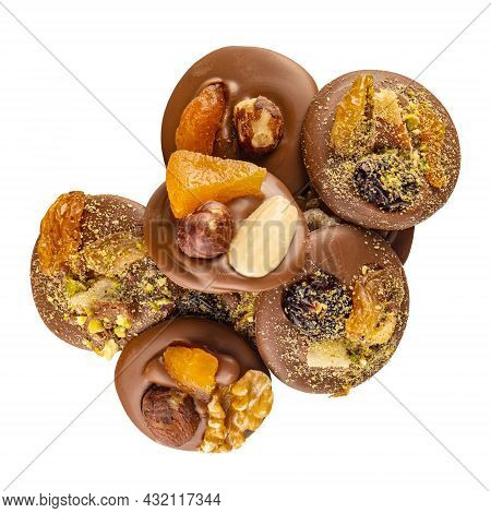 Chocolate Pralines Assortment On A White Background.