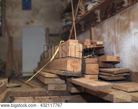 Shallow Dof Shot Of A Carpenter Workshop, Indoor Closeup