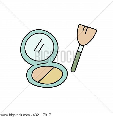 Doodle Sign Of Powder Box And Cosmetic Brush. Vector Illustration Isolated On White Background. Cute