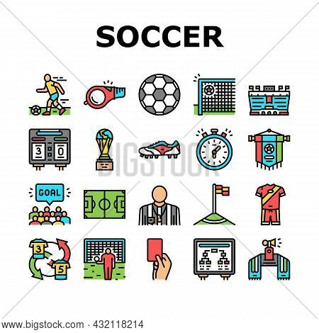 Soccer Team Sport Game On Stadium Icons Set Vector. Soccer Match Competition On Field And Sportive S