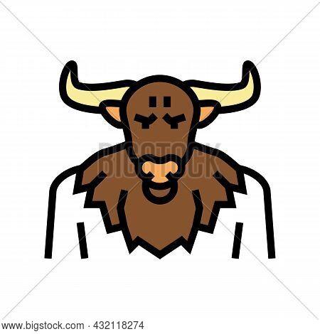 Minotaur Ancient Greece Color Icon Vector. Minotaur Ancient Greece Sign. Isolated Symbol Illustratio