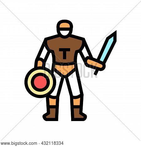 Gladiator Ancient Greece Warrior Color Icon Vector. Gladiator Ancient Greece Warrior Sign. Isolated