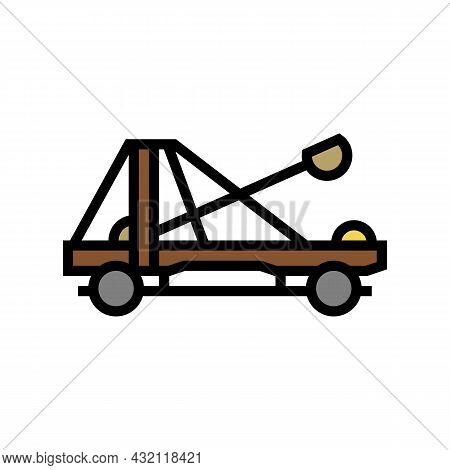 Catapult Weapon Ancient Rome Color Icon Vector. Catapult Weapon Ancient Rome Sign. Isolated Symbol I