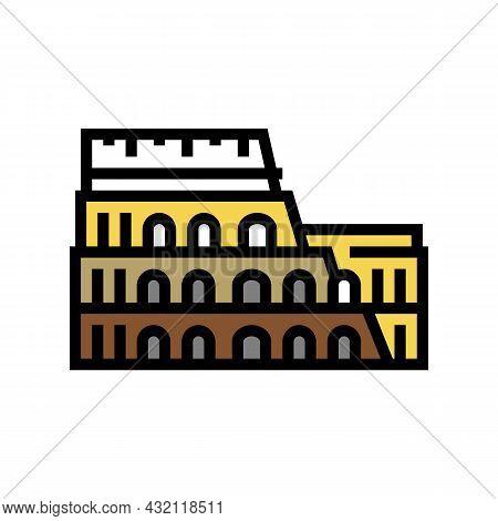 Coliseum Arena Ancient Rome Building Color Icon Vector. Coliseum Arena Ancient Rome Building Sign. I