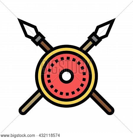 Shield And Spears Ancient Rome Color Icon Vector. Shield And Spears Ancient Rome Sign. Isolated Symb