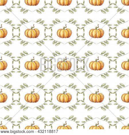 Autumn Seamless Pattern. Orange Pumpkin. Fall Seamless Background