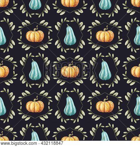 Autumn Seamless Pattern. Blue And Orange Pumpkin. Fall Seamless Background