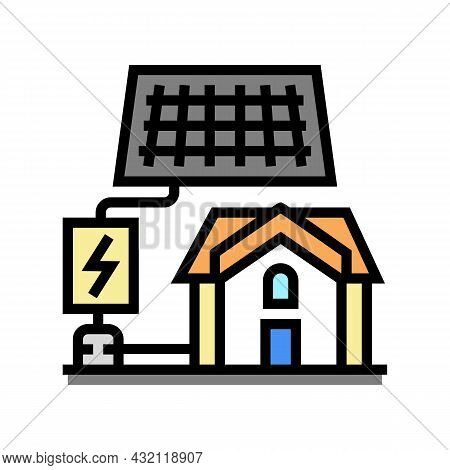 Solar Electricity Installation Color Icon Vector. Solar Electricity Installation Sign. Isolated Symb
