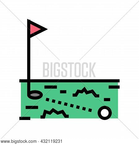 Ball Running In Golf Hole Color Icon Vector. Ball Running In Golf Hole Sign. Isolated Symbol Illustr