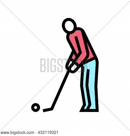 Golf Player Playing Game And Hitting Ball Color Icon Vector. Golf Player Playing Game And Hitting Ba