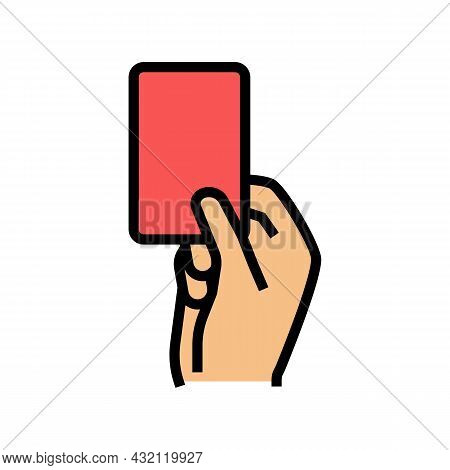 Red Card From Arbitrator Color Icon Vector. Red Card From Arbitrator Sign. Isolated Symbol Illustrat