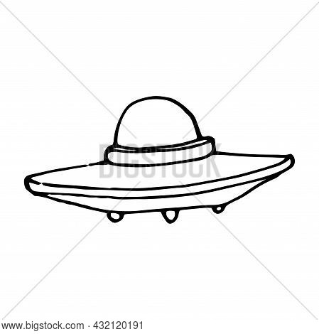 Linear Vector Isolated Element Of A Ufo Flying Saucer. The Alien Ship Is Hand-drawn In The Style Of