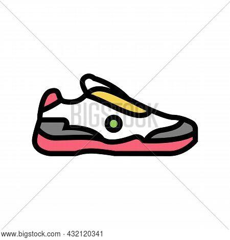 Men Tennis Shoe Color Icon Vector. Men Tennis Shoe Sign. Isolated Symbol Illustration