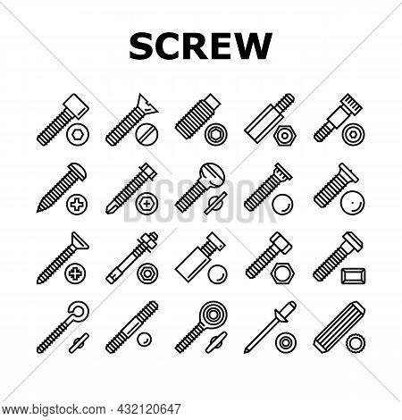 Screw And Bolt Building Accessory Icons Set Vector. Socket Head And Shoulder Screw, Press-fit And He