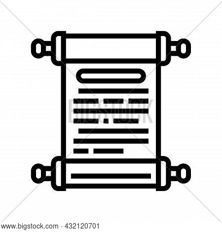History Scroll Ancient Greece Line Icon Vector. History Scroll Ancient Greece Sign. Isolated Contour