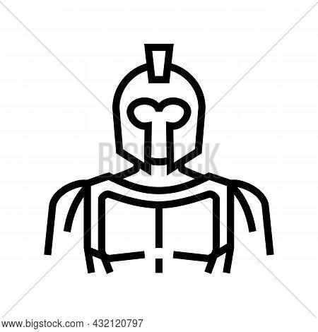 Spartan Ancient Greece Line Icon Vector. Spartan Ancient Greece Sign. Isolated Contour Symbol Black