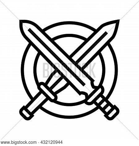 Crossed Sword Ancient Greece Line Icon Vector. Crossed Sword Ancient Greece Sign. Isolated Contour S