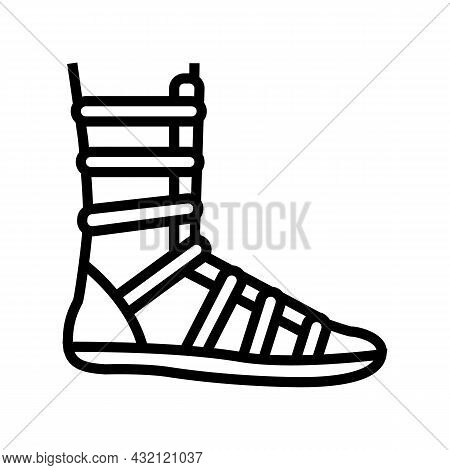Warrior Shoe Ancient Rome Line Icon Vector. Warrior Shoe Ancient Rome Sign. Isolated Contour Symbol
