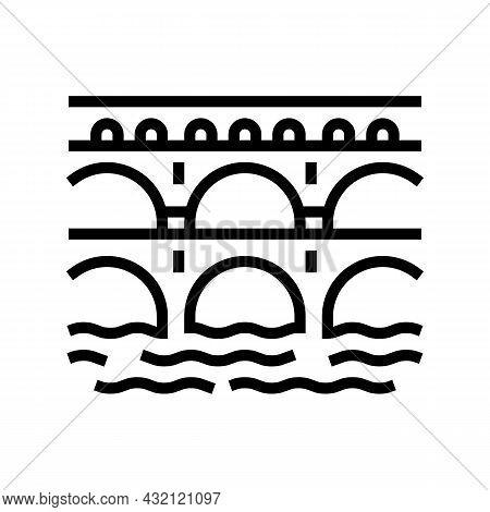 Aqueduct Ancient Rome Construction Line Icon Vector. Aqueduct Ancient Rome Construction Sign. Isolat