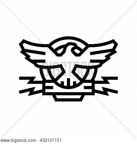 Coat Of Arms With Eagle Line Icon Vector. Coat Of Arms With Eagle Sign. Isolated Contour Symbol Blac
