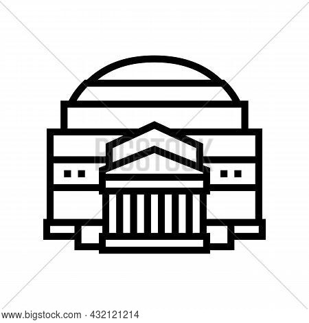 Pantheon Ancient Rome Building Line Icon Vector. Pantheon Ancient Rome Building Sign. Isolated Conto