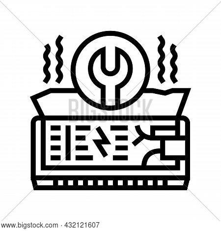 Air Conditioning Repair Line Icon Vector. Air Conditioning Repair Sign. Isolated Contour Symbol Blac