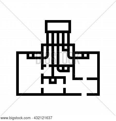 Zoned Heating Cooling Systems Line Icon Vector. Zoned Heating Cooling Systems Sign. Isolated Contour
