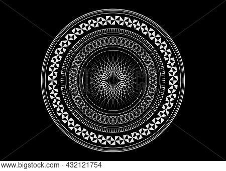 Mandala Sacred Geometry Symbol Elements, White Line Art. Oriental Pattern, Vector Illustration. Isla
