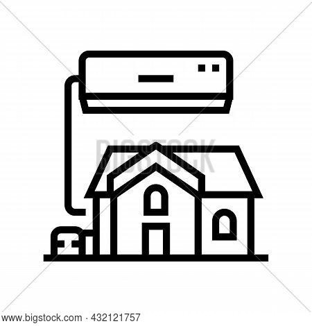 Residential Conditioning System Line Icon Vector. Residential Conditioning System Sign. Isolated Con