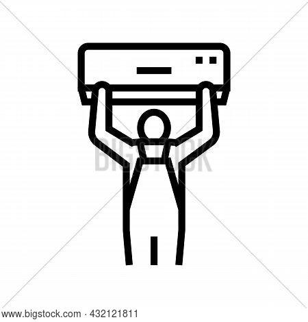Air Conditioning Installation Line Icon Vector. Air Conditioning Installation Sign. Isolated Contour