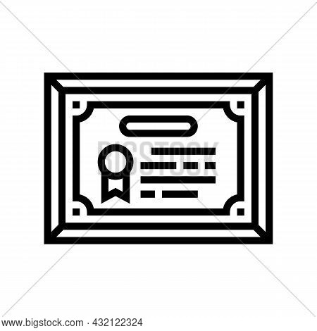 Diploma Or Educational Certificate Line Icon Vector. Diploma Or Educational Certificate Sign. Isolat