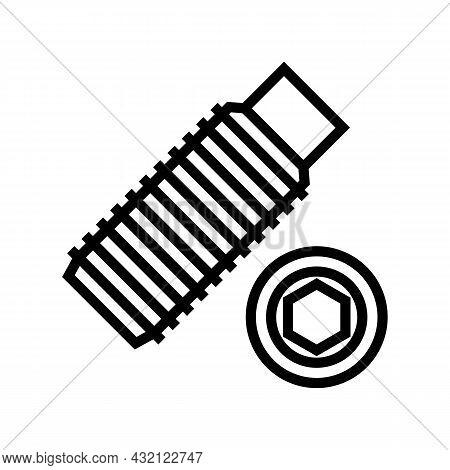 Set Screw Line Icon Vector. Set Screw Sign. Isolated Contour Symbol Black Illustration