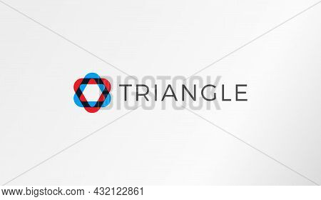 Abstract Color Overlay Logo Template, Round Triangle Oval Shape, Red And Blue Color Logotype Concept