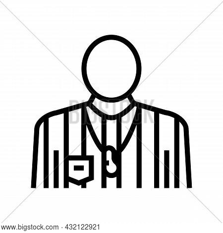 Arbitrator Judge Or Referee Soccer Line Icon Vector. Arbitrator Judge Or Referee Soccer Sign. Isolat