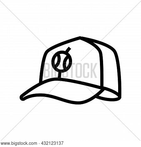 Cap Tennis Player Line Icon Vector. Cap Tennis Player Sign. Isolated Contour Symbol Black Illustrati