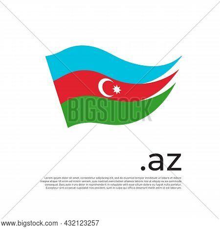 Azerbaijan Flag. Stripes Colors Of The Azerbaijani Flag On A White Background. Vector Flat Design Na