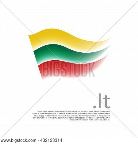 Lithuania Flag. Stripes Colors Of The Lithuanian Flag On A White Background. Vector Design National