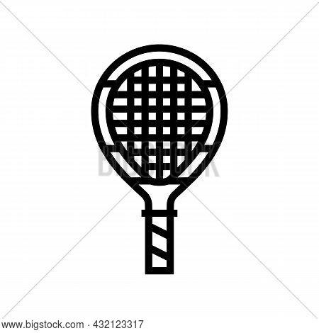 Junior Tennis Racquet Line Icon Vector. Junior Tennis Racquet Sign. Isolated Contour Symbol Black Il