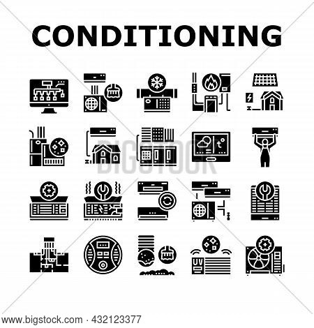 Conditioning System Electronics Icons Set Vector. Conditioning System Repair And Purification Servic