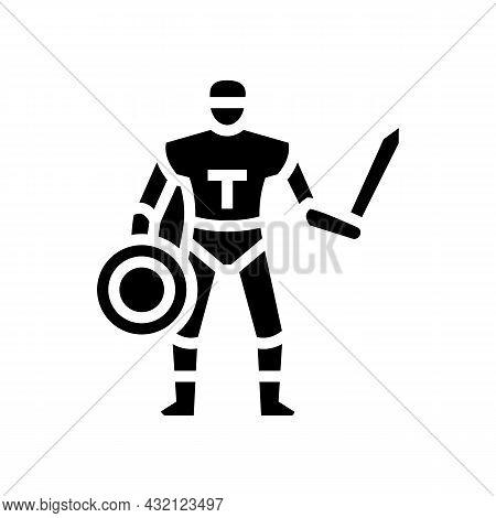 Gladiator Ancient Greece Warrior Glyph Icon Vector. Gladiator Ancient Greece Warrior Sign. Isolated