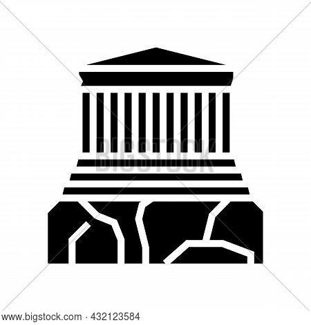 Acropolis Ancient Greece Architecture Building Glyph Icon Vector. Acropolis Ancient Greece Architect