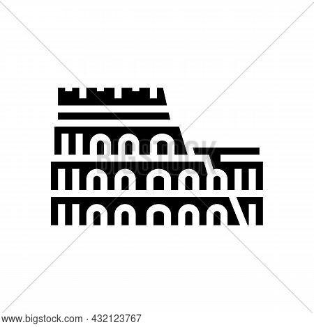 Coliseum Arena Ancient Rome Building Glyph Icon Vector. Coliseum Arena Ancient Rome Building Sign. I