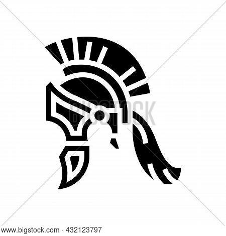 Legionary Helmet Ancient Rome Glyph Icon Vector. Legionary Helmet Ancient Rome Sign. Isolated Contou