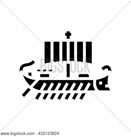 Ship Ancient Rome Glyph Icon Vector. Ship Ancient Rome Sign. Isolated Contour Symbol Black Illustrat