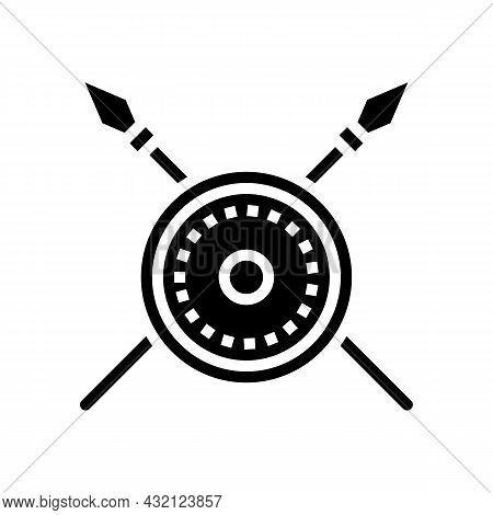 Shield And Spears Ancient Rome Glyph Icon Vector. Shield And Spears Ancient Rome Sign. Isolated Cont