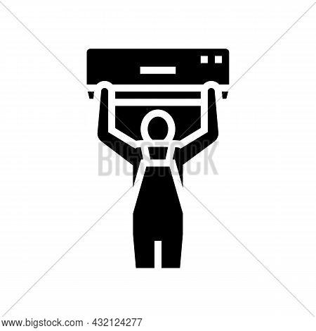 Air Conditioning Installation Glyph Icon Vector. Air Conditioning Installation Sign. Isolated Contou