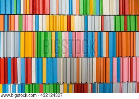 Colorful Background. Wooden Blocks On Shelves;  Different Colors And Shapes.
