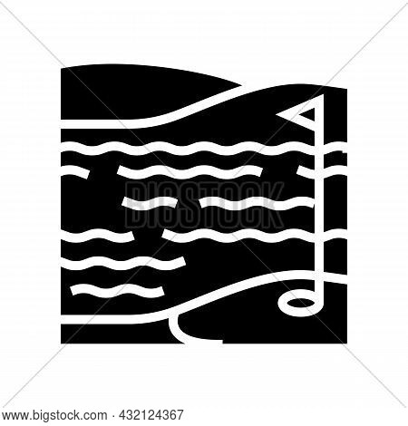 Lake And Field Golf Playground Glyph Icon Vector. Lake And Field Golf Playground Sign. Isolated Cont