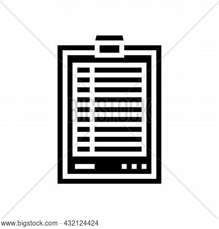 Score Paper Golf Game Glyph Icon Vector. Score Paper Golf Game Sign. Isolated Contour Symbol Black I