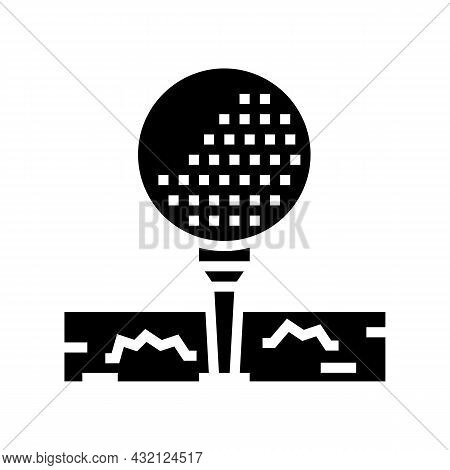 Ball On Golf Tee Stand Glyph Icon Vector. Ball On Golf Tee Stand Sign. Isolated Contour Symbol Black